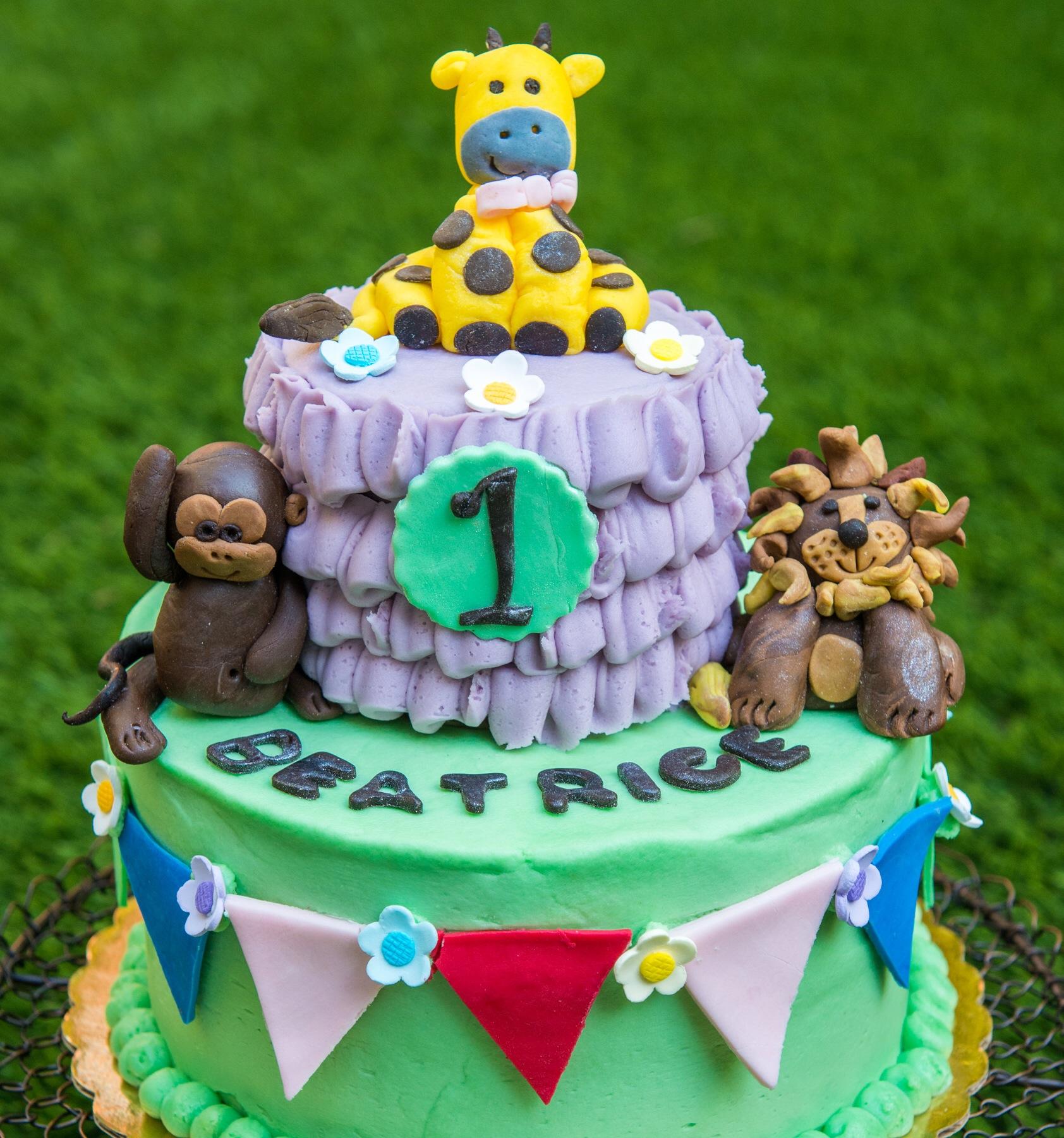 First Birthday Zoo Animal Cake Aspen Street Cakes