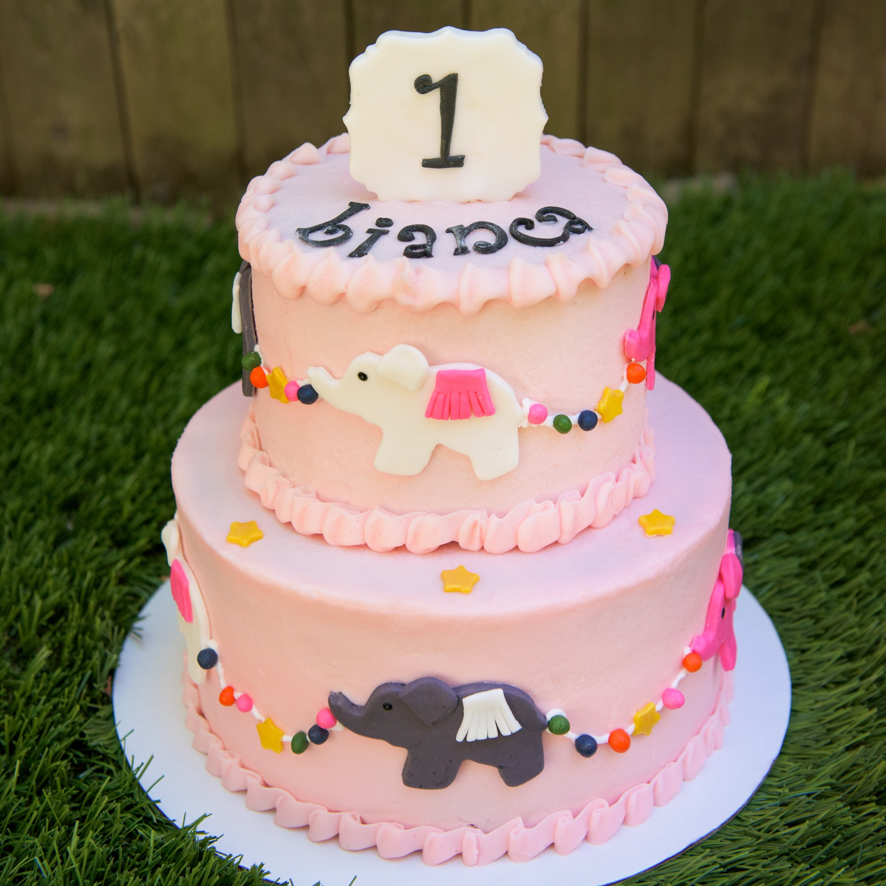 First Birthday Circus Elephant Cake
