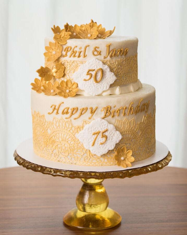 50th Wedding/75th Birthday Cake – Aspen Street Cakes