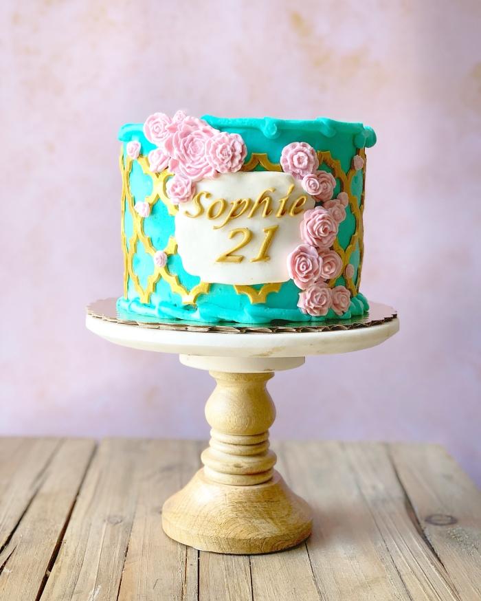 Enjoyable 21St Birthday Tea Rose Cake Aspen Street Cakes Personalised Birthday Cards Xaembasilily Jamesorg
